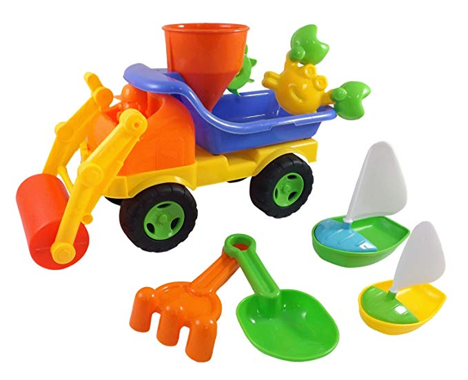 Beach Toys Sand Roller Dump Truck Set for Kids with Rake, Shovel, Sandwheel, Sailboats, & Mold