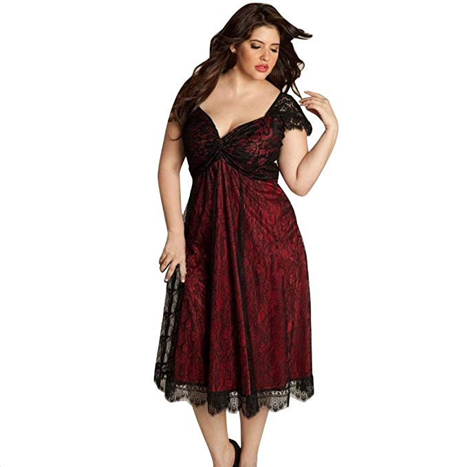 Kanzd Plus Size Women Sleeveless Lace Long Evening Party Dress Prom Gown Formal Dress A-Line Dress Large Size