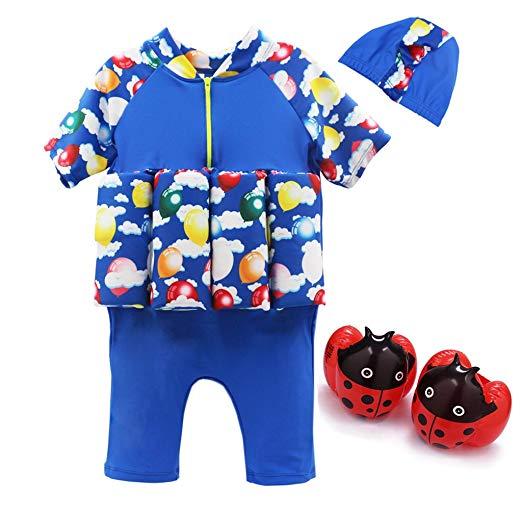 Flotation Swimsuit for Boys Buoyancy Detachable Swimwear for Kid Learn to Swim