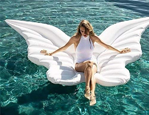 Halunbo Giant Inflatable Angel's Wing Pool Float with Rapid Valves Summer Outdoor Swimming Pool Party Lounge Raft Decorations Toys for Adults (White)