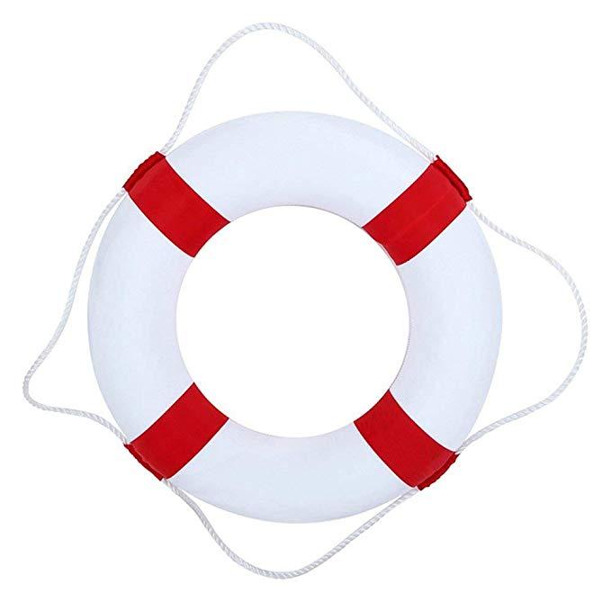 50cm (19.7in)diameter Swim Foam Ring Buoy Swimming Pool Safety Life Preserver W/nylon cover kid child adult(red)