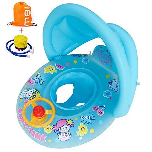 TOAOB Inflatable Baby Pool Float Swimming Ring with Sun Canopy Blue for the Age 6-36 Months