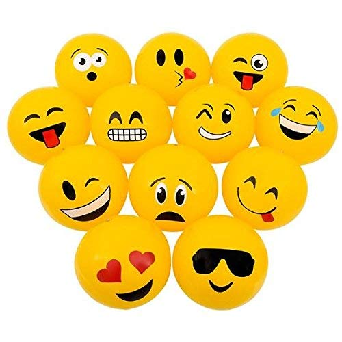 """Emoji Inflatable Beach Balls 12"""" – Pack Of 12 Inflates - For Pool, Toys, Birthday Party, Prize, Party Favor – By Kidsco"""