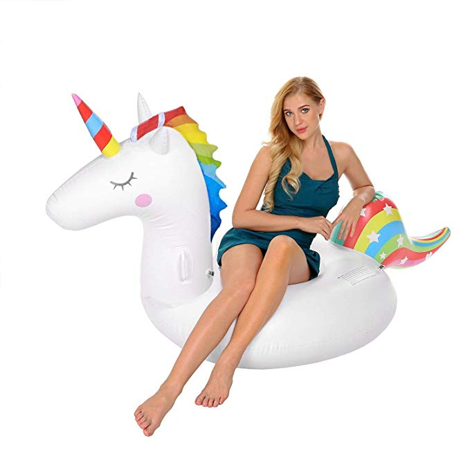 Westhighland Unicorn Inflatable Pool Floats Adults Kids, Outdoor Indoor Vacation Beach Lounge Pool Floats, 78.7 x 39.3 x 35.4 inch