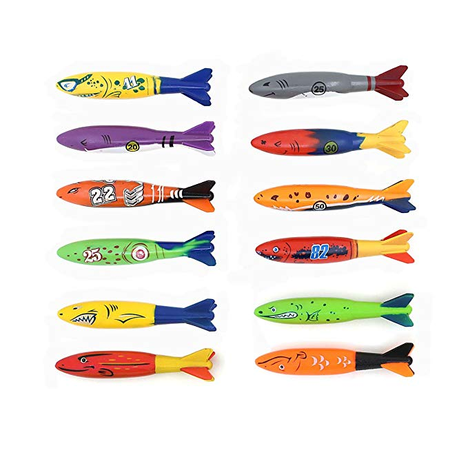 Swimming pool diving toys, gliding throwing torpedo,Diving rocket 12pcs / lot
