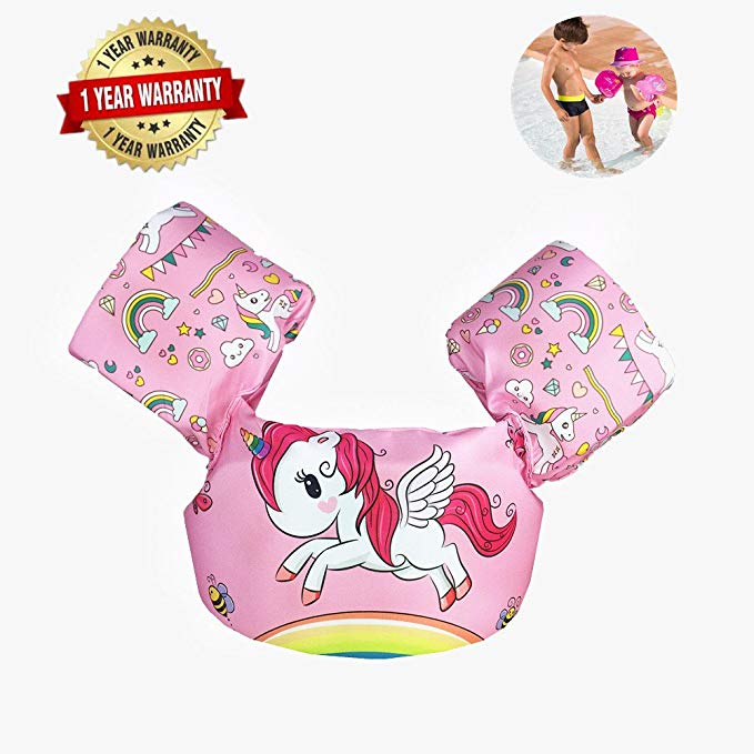 Swim Arm Bands Trainer Float Foam Vest Learn Swimming Assistance Independence Fun Aid Water Pool Beach (unicorn)