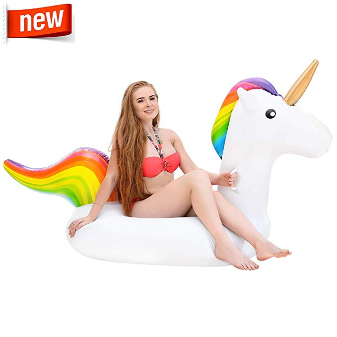 Inflatable Unicorn Pool Float Pool Party Toys Giant Pool Floats for Adults and Kids Outdoor Vacation Beach Loungers Lake Ride-on River Raft