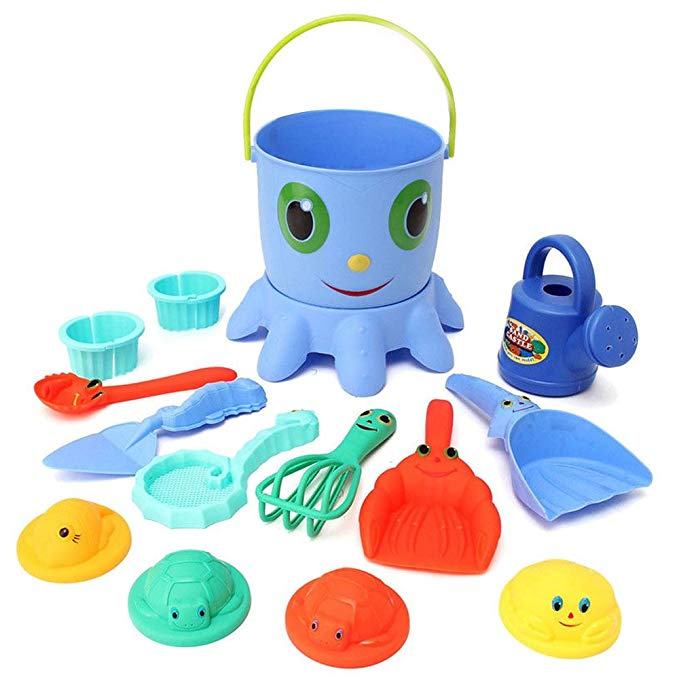 Beach Toys, Seprovider Octopus Bucket Children's Toy Beach Sandbox Playset, Seaside Sand Toys with Shovel, Rake, Bucket Sifter, Animal Molds, Watering Can, Kid's Water Toys - Pack of 14