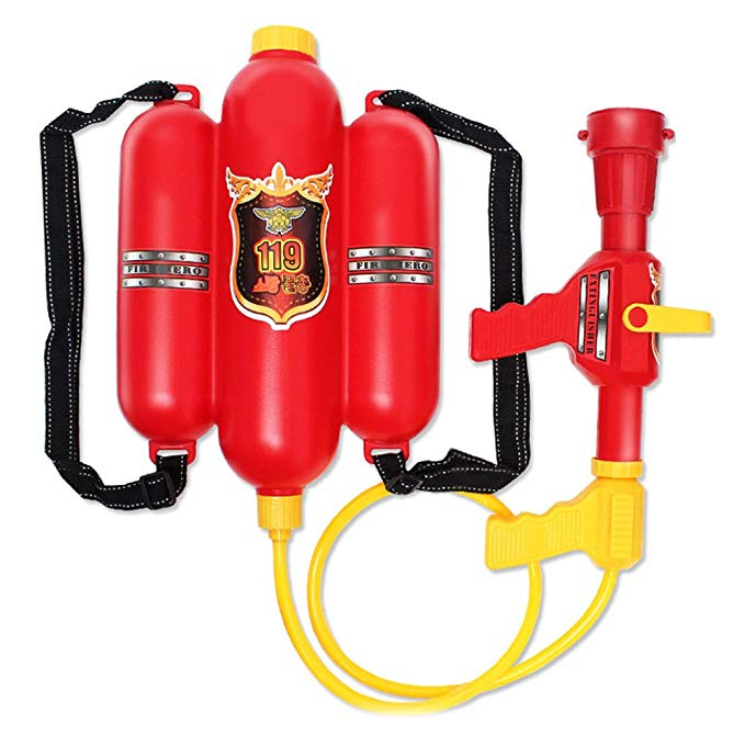 iEasyhome Durable Plastic Toys Firefighting Backpack Water Gun Inflatable Pressure Gun Outdoor Fun Sports Summer Beach Shooting Squirt Water