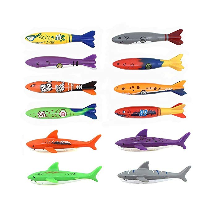 Cherry Toys Swimming Pool Diving Toys Multiplayer Underwater Gliding Shark Darts 12 PCS/Set