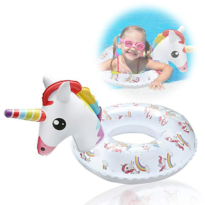 DIYurfeeling Unicorn Flamingo Pool Float Swimming Ring Inflatable Kids 4-7 Years Boy Girls Diameter 10 Inch