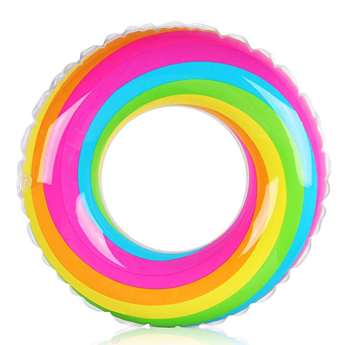 Coogam Rainbow Swim Ring Whirl Tube Color Pool Float Inflatable Rubber Inner Tubes Water Donut Rafts Foam Innertube Toy for Adults Kids Summer Outdoor Beach Playing Decoration (35.4'')