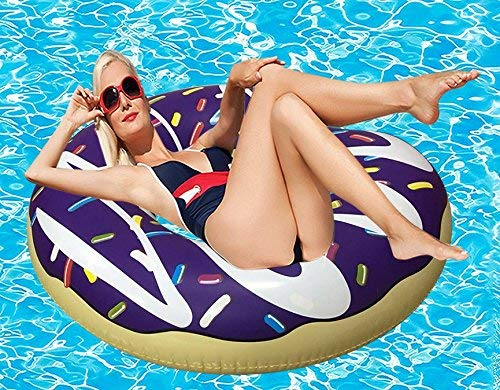 RiffSpheres Gigantic Donut Pool Float Toys & Raft - (Purple Inflatable Giant Donut Pool Floats Tube With Frosting) Great Christmas Gifts Idea