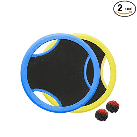 MULTAGFY Trampoline Ball Game Set with 2 Paddles Flying Discs Stringy Ball for Outdoor Family Camping Game Leisure Sports