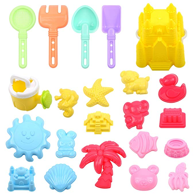 FUNNISM 22 Pieces Beach Sand Toy Set Sandbox Toys Including Castle, Coco,Animals Elephant/Duck/Bear/Rabbit/Fish/Seahorse/Octopus, Sun, Models Molds, Bucket, Shovels Rakes