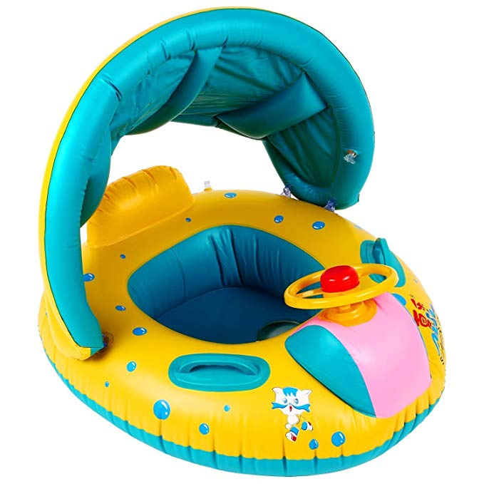 MinYn Baby Inflatable Swim Float Boat with Canopy Horn Pool Float for Toddlers