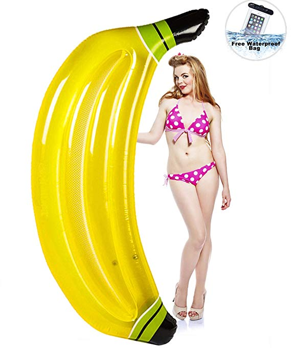 Inflatable Banana Pool floats,HAOCOO Large Outdoor Swimming Pool Party Float Floatie Lounge Toys for Adults & Kids with Free Waterproof Case (Banana)