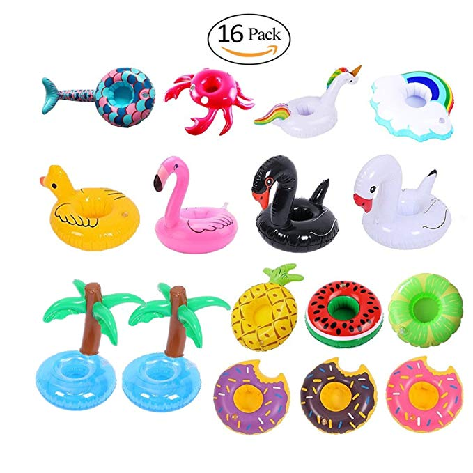 Mai Poetry 16 Pack Inflatable Drink Holders for Pool Party Kids Adults