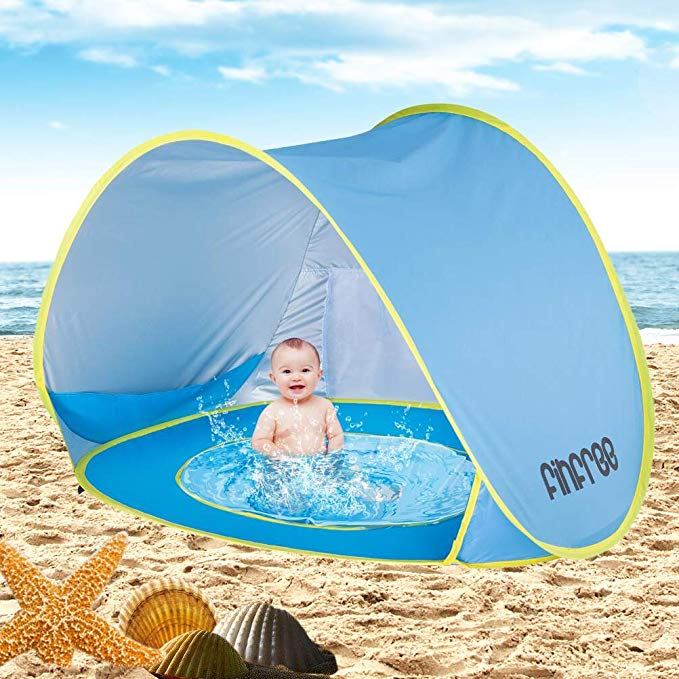 FINFREE 2018 Baby Beach Tent With Pool, UPF50+ Pop Up Sun Shade For Infant