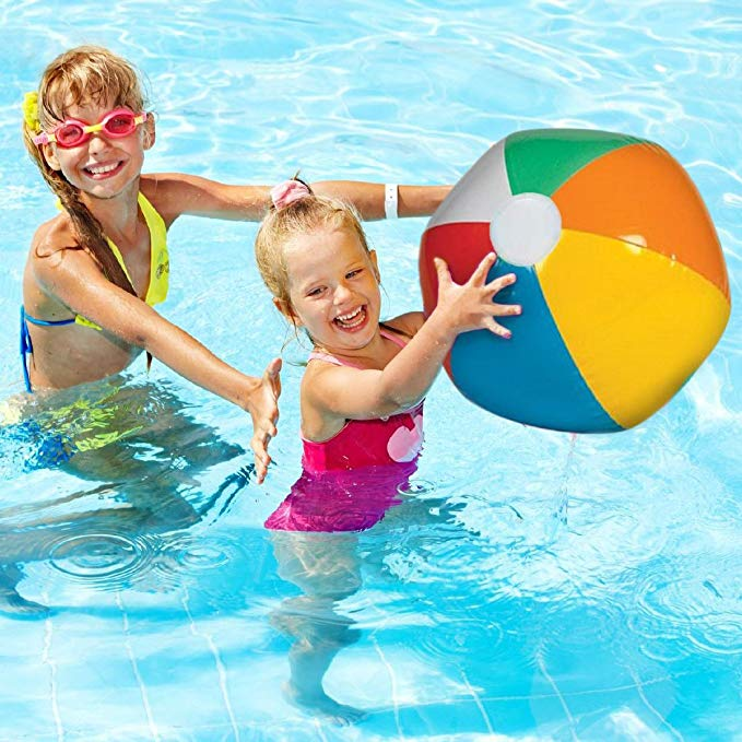 dazzling toys Inflatable Jumbo Beach Balls - 12 Pack - Bright Rainbow Colored Pool Toys for Kids and Adults
