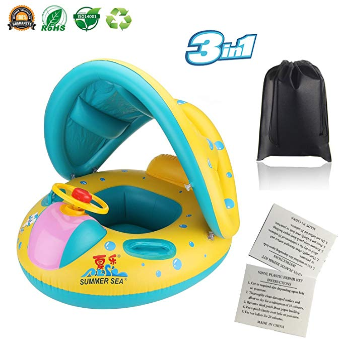 Baby Pool Float Infant Swimming Ring with Canopy Shade - Inflatable Spring Water Toys for 6-18 Months Toddlers Kids with Storage Accessories