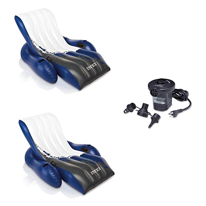 INTEX Floating Recliner Lounge w/ Cup Holders (2 Pack) & Quick Fill Air Pump