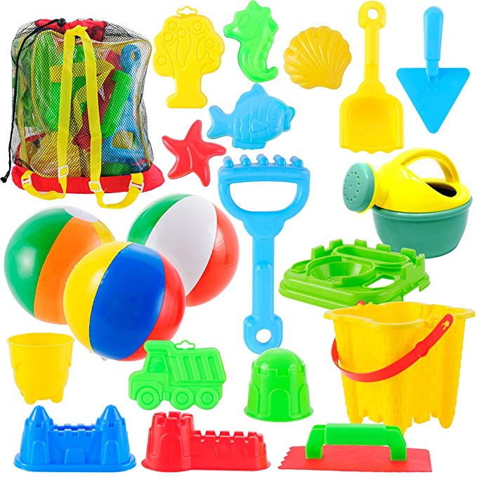 JOYIN 20 Pieces Beach Sand Toys Set Models, Beach Pail Set with Molds Bucket, Rake, and Shovel in Zippered Bag with Reusable Easy to Pack Mesh Backpack