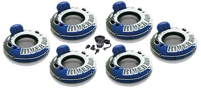 INTEX River Run I Inflatable Floating Tubes (Set of 6) & Quick Fill Air Pump