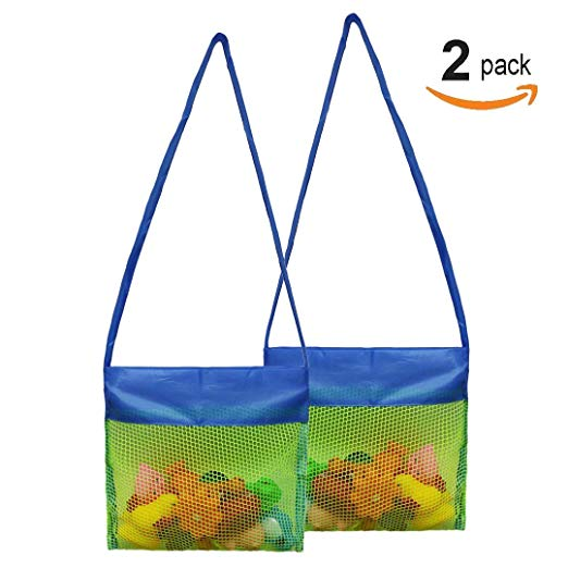 Osa Mesh Beach Bag, 2 PACK Children Toy Organizer Storage Bag for Beach Toy Shell Collection Foldable Bag