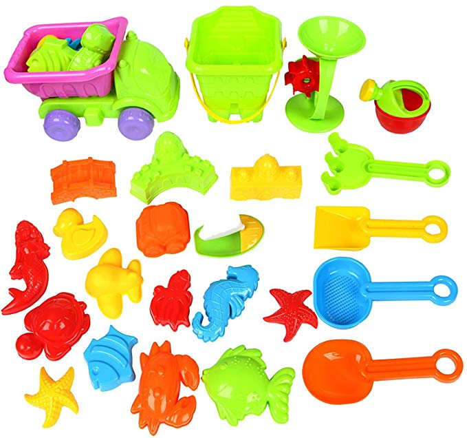 Sun Cling Plastic Play Castle Molds Beach Sand Toys Sets Kids Beach Toy Sand Shovel Rake for Toddlers BPA Free 28 Pieces with Truck,Watering Can in Bucket