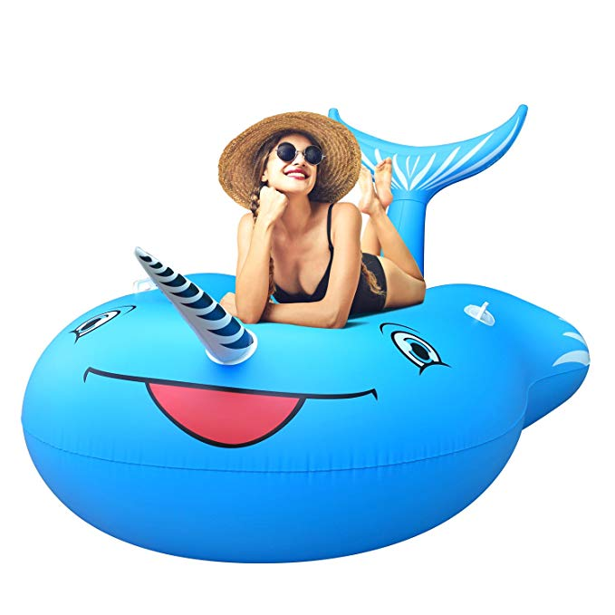 femor Inflatable Narwhal Pool Float, Funny Pool Party Toys Giant Swimming Pool Floats, Outdoor Vacation Beach Loungers Lake Ride-ons River Raft Lounge for Adults Kids