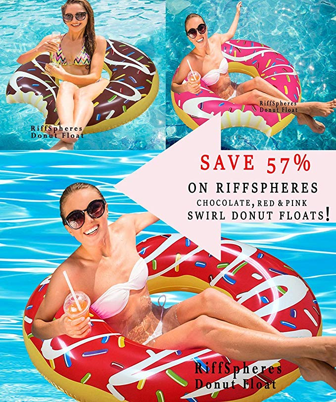 RiffSpheres Giant Donut Pool Float Lounger - Chocolate Inflatable Pool Floats Toy Raft For Adults And For Kids. 51