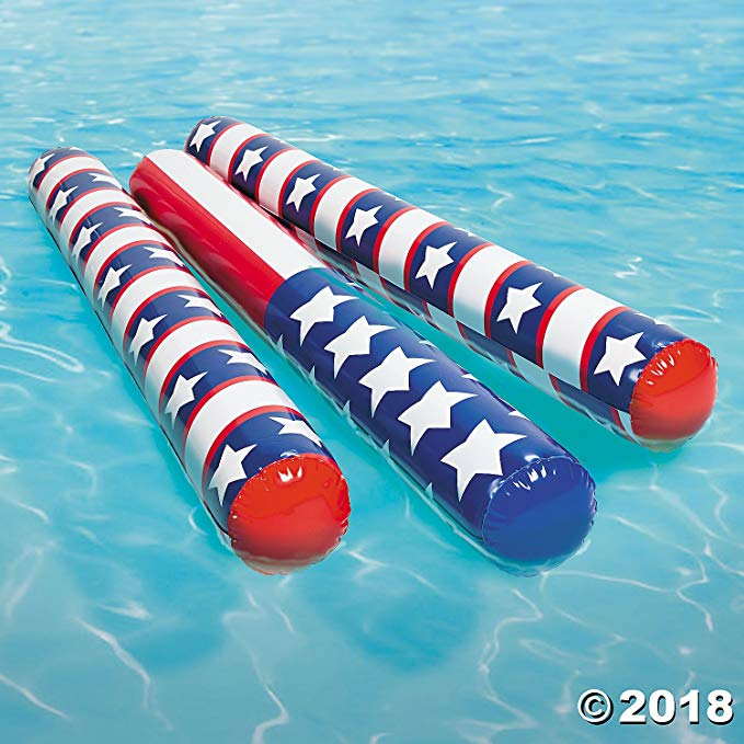 Set of 6 Patriotic Stars and Stripes Inflatable Pool Swim Noodles