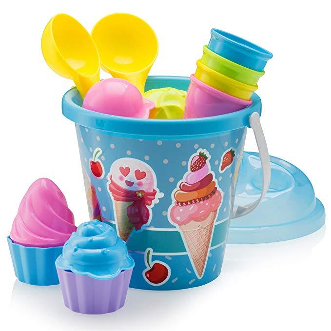 Top Race Beach Set, Ice Cream Cake Series Mold Set, 16 Piece Set Large 9 inch Ice Cream Beach Pails (Blue)