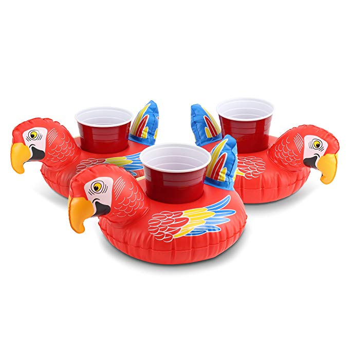 GoFloats Inflatable Party Parrot Drink Holder (3 Pack), Float Your Drinks in Style