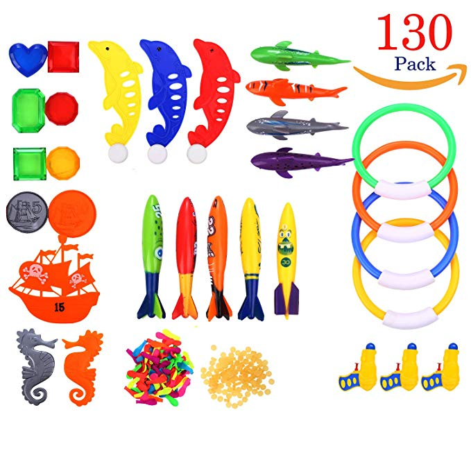 Richard Woods 130 Pack Swimming Toy Set Underwater Toys Include Water Gun,Balloons,Diving Pool Rings,Aquatic Dive Balls,Shark,Ship Series