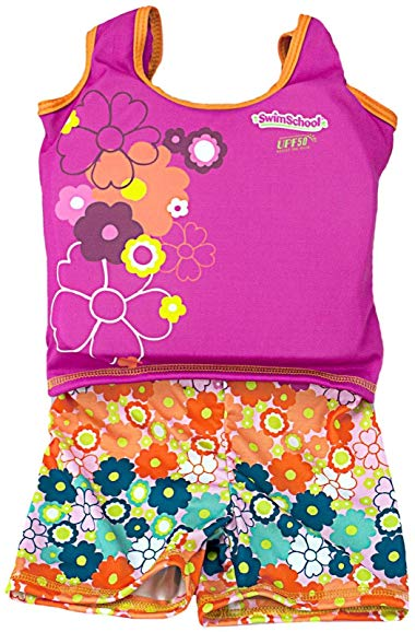 Aqua Leisure Girls 1 pc swim trainer, floral print shorts, printed top, with back zipper Toy