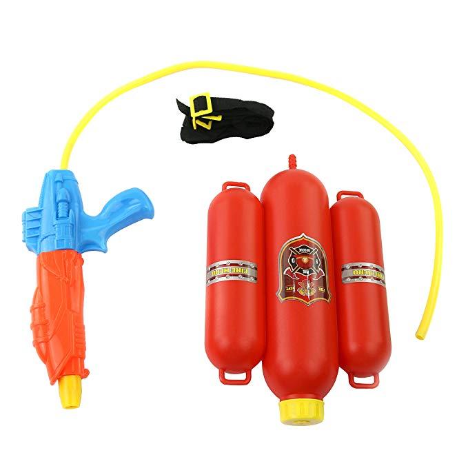 Bstaofy Fireman Toy Backpack Water Gun Blaster Fireman Toys Backpack Water Gun Playset, Summer Toys, Outdoor Toys, Bath Toys for Kids (Orange)