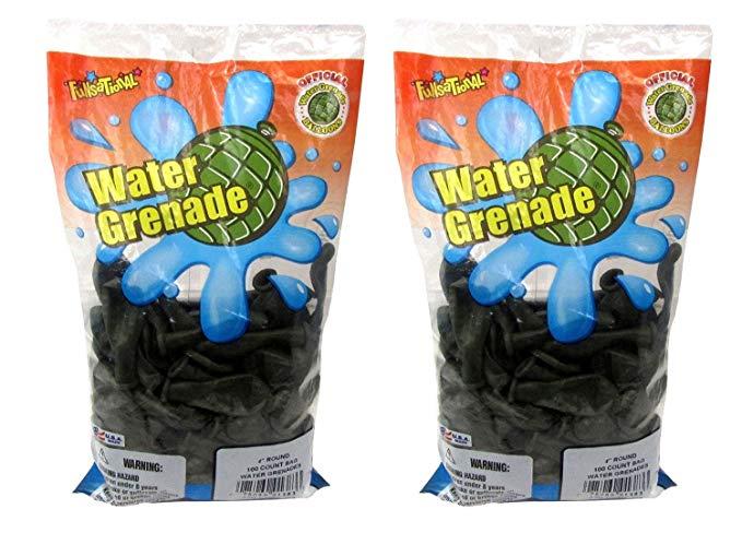 Pioneer National Latex Water Grenade Balloons, Dark Green, 200 Count (2 packs of 100)