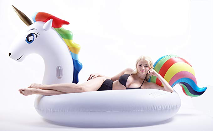 Giant Inflatable Unicorn Pool Float, 9 Feet Long with Rapid Valve, Unicorn Pool Float Floatie Ride On with Rapid Valves Large raft Summer Beach Pool Party Lounge for Kids and adults (Unicorn Float)