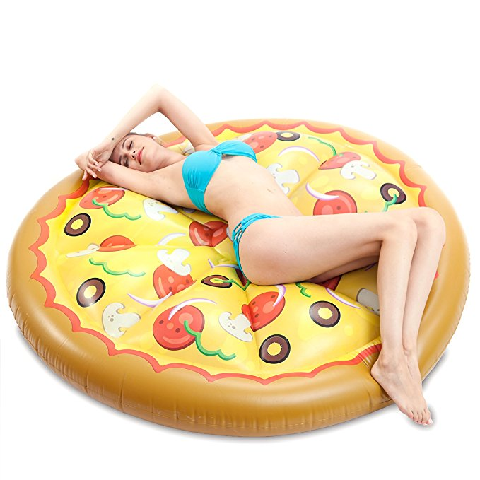 JOYIN Giant Inflatable Round Pizza Pool Float, Fun Beach Floaties, Swim Party Toys, Pool Island, Summer Pool Raft Lounge for Adults & Kids
