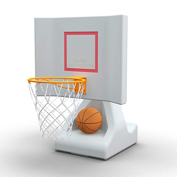POOL SHOT Pool Basketball Hoop with Powder Coated Hoop, Stainless Steel Hardware and 2 Basketballs - Rock The House