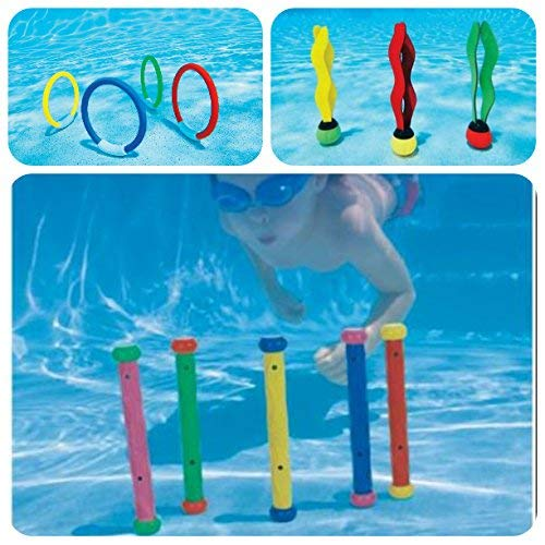 Intex Underwater Swimming Pool Toy Diving Play Set - Set Includes, Underwater Play Rings, Underwater Play Sticks and Underwater Balls • Combo Pack of Swimming Pool Fun Toys for Diving and Swimming