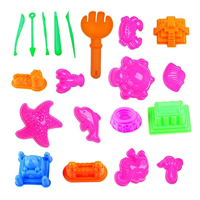 Liangxiang Sand Molds Kit Total 20 Pcs Sand Castle Mold Kids Educational Beach Toy (Castle+ Animal + Tool, Colorful)