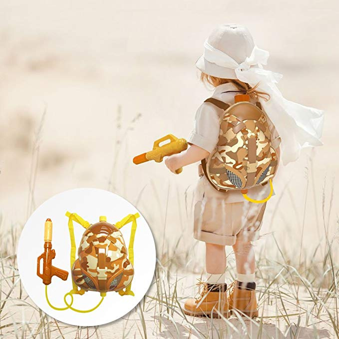 Nai-B Milistar Water Gun Backpack for Kids and Toddlers. Super Soaker Squirt Gun, Water Blaster and Shooter Toy [Desert]