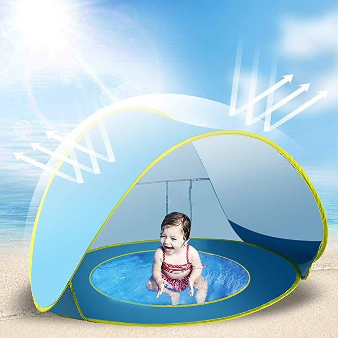 Jasonwell Baby Beach Tent Toy Portable Pop Up Sun Shade Kiddie Tent Pool with Canopy UV Protection Sun Shelter for Infant - Blue
