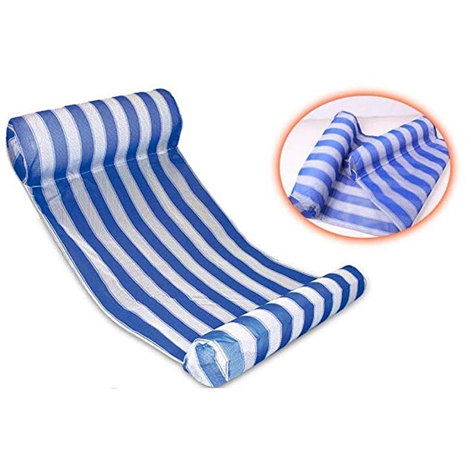 Deluxe Blue and White Stripe Water Float Hammock with 2 Inflatable Pillows