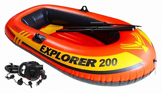 Intex Explorer 200 Inflatable Two Person Raft Boat Set w/ Quick-Fill AC Air Pump
