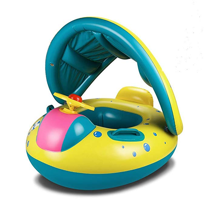 GFun Baby Inflatable Water Floats with Adjustable Canopy Sunshade Safety Seat Boat Swim Ring for Toddlers
