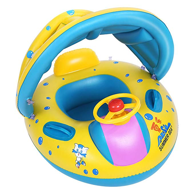 LHS Baby Float for Pool, Safety Inflatable Baby Toddler Pool Float Swimming Ring with Sun Canopy for Children Baby Spring Floats Toys for The Age 6-36 Months Baby Boat for Beach Pool